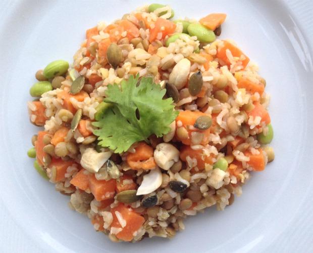 ensalada de boniato, arroz integral 620+500