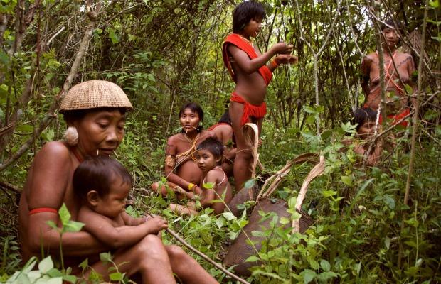 Yanomami women and children rest in a forest garden, Brazil.